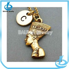 Latest design custom long chain with gold man head pendant necklace