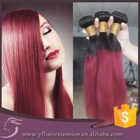 Silky Straight Brazilian Ombre #1b Red Hair Weft Hair Ombre