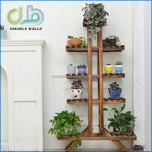 Indoor Eudipleural Five-Layer Flower Stand- 145*84*26CM - Coffee color