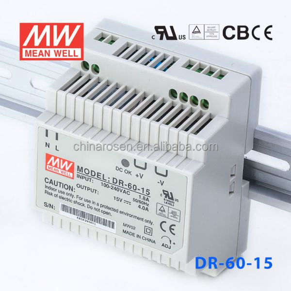 ORIGINAL Meanwell DR-60-15 60W 15V/4A AC-DC Single Switch Power Supply