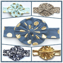 hair accessories cotton baby headband print gold dot the bows of satin ribbons