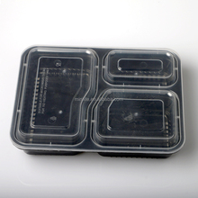 Plastic Meal Lunch Box, Disposable Divided Plate, Takeaway 3 Compartment PP Food Container With Lids