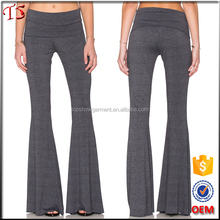 New fashion trend flared trousers wide waistband ladies bell bottom pants with raw cut hem