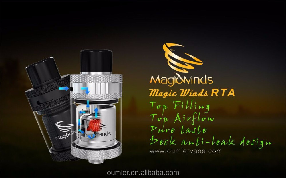 Oumier another innovative product Magic Winds RTA tank atomizer, magic puff e-cigarettes