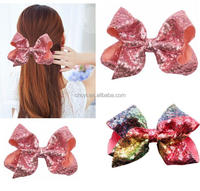 New Design Jojo Mermaid Sequin Bows High Quality 8 Inch Big Sequin Hair Accessories Hair Bow For Girls