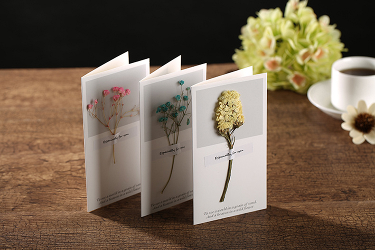 Miniature bouquet of tiny flowers greeting cards with dry cards