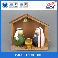 Lovely Christmas Resin nativity set with wood house,holy family statue