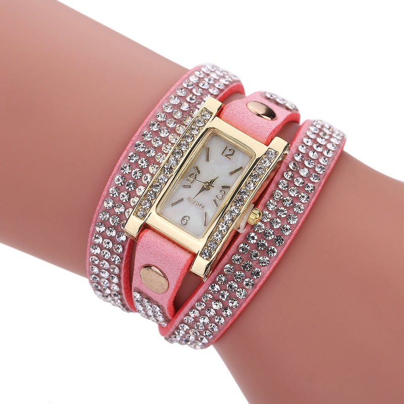 Sloggi new fashion Korea velvet coach bracelets winding watch crystal belt quartz watch