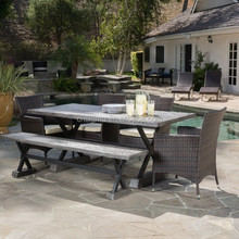 2016 Outdoor used patio zinc top rectangular table fixed wooden dining table chairs