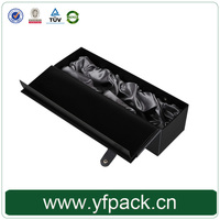 PU Leather Belt Button Champagne Single Bottle Wine Box With Satin Cloth PVC Blister Insert Holder