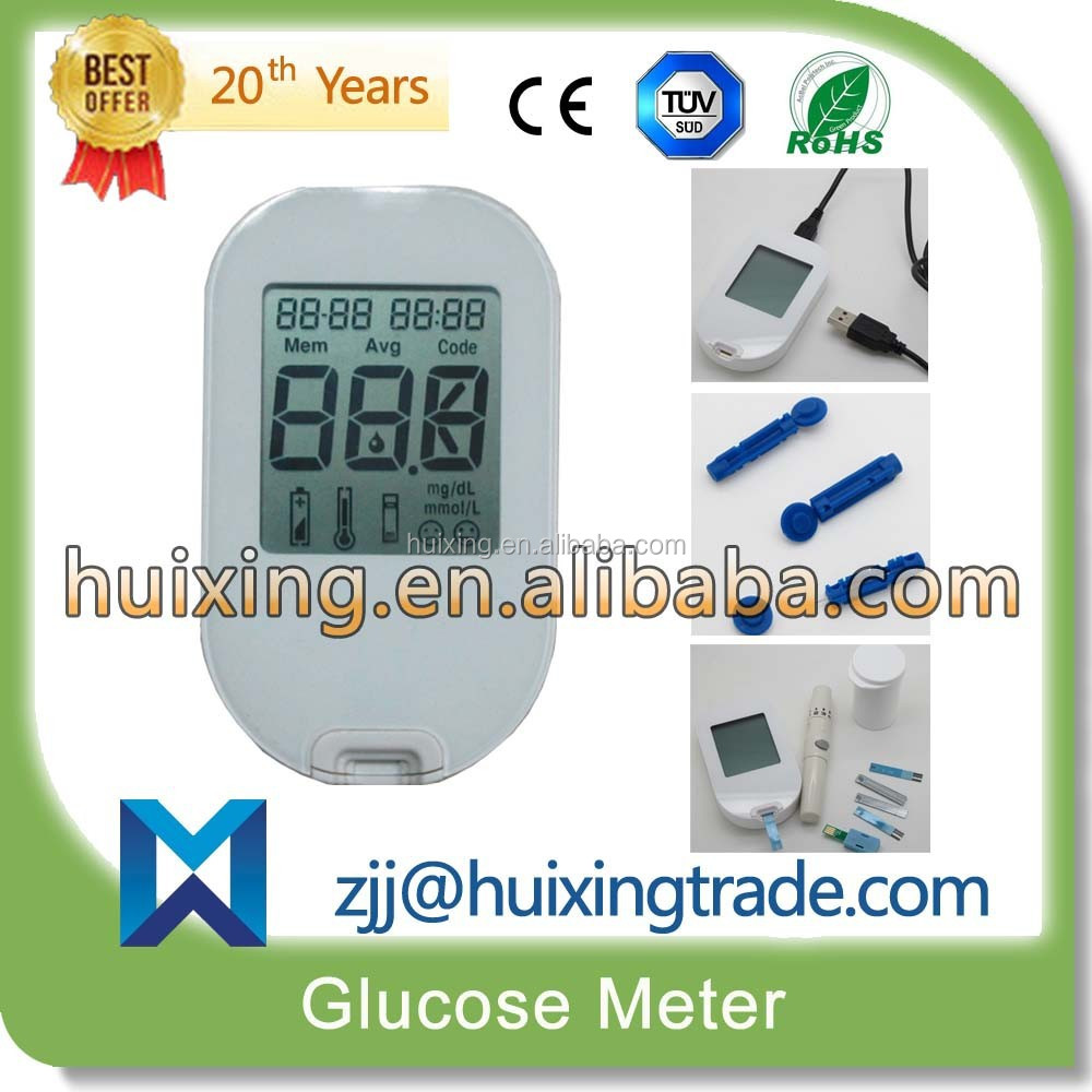 new design High Quality Big Screen Digital blood glucose meter With PC-link USB Cable / Precise silver strips/