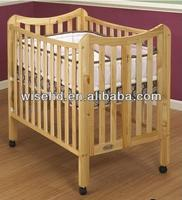 (W-BB-113) solid pinewood baby folding wooden cot