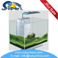JK series glass nano small tropical white open aquariums for ornament fish,with good design