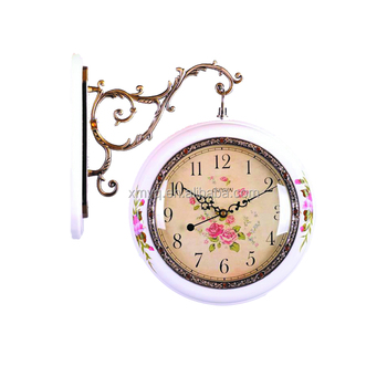 2017 new design shape customized double sides wall clock