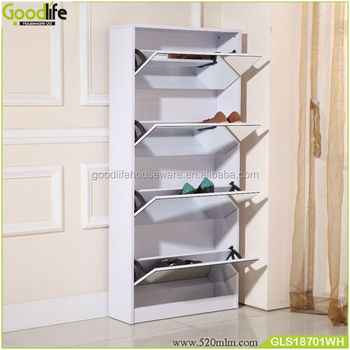 Mirrored furniture shoe cabinet 4 racks closet organizer