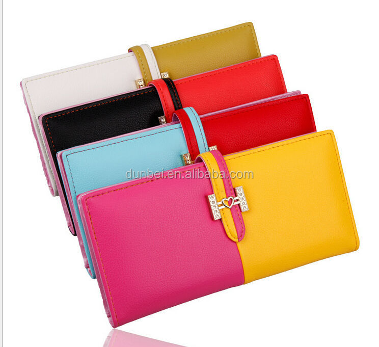 Hot new Leather Wallets for 2015 Cheap wholesale long purses lady clutch purse