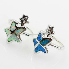 2016 Fashion jewelry wholesale 925 sterling silver blue cut opal star ring