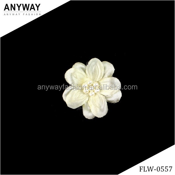 Wholesale handmade satin fabric flower with rhinestone pearl center