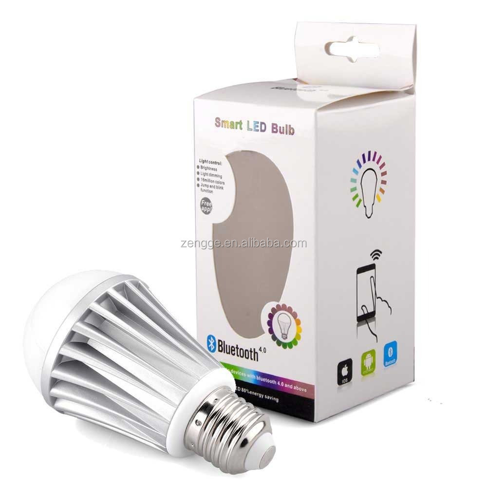 new design bluetooth wifi controlled led color smart light bulb 7w e27 rgbw