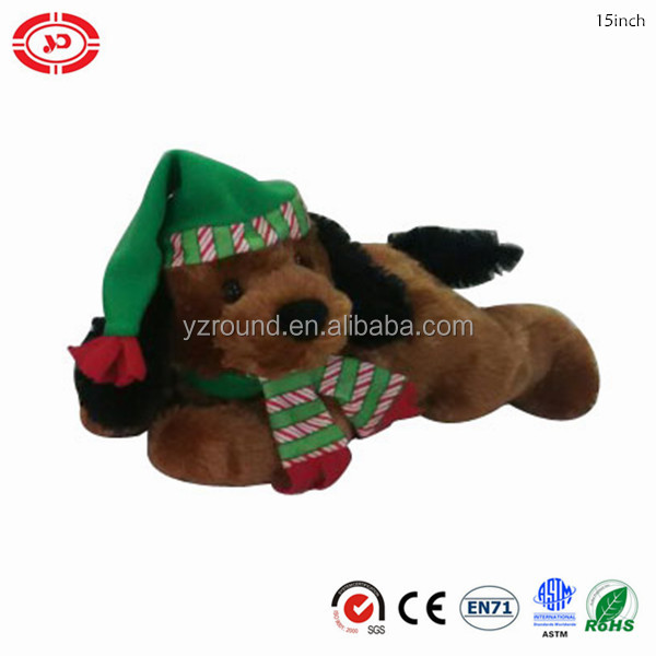 Lying brown soft plush lying dog cute puppy xmas gift kids toy