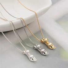 Factory Price Wholesale Cute Animal Jewelry Lovely Cat Pendant Alloy Necklace