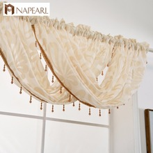 NAPEARL oem custom design valance sheer curtains with beads