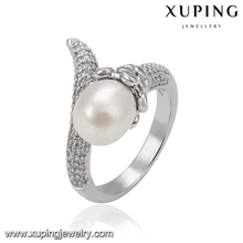 14507 Xuping indian ladies white gold color jewelry, new design pearl finger ring annulus O ring Anillo