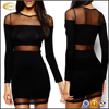 Ecoach wholesale womens latest net dress design black long sleeve Transparent Net Splice Dress sexy net dress