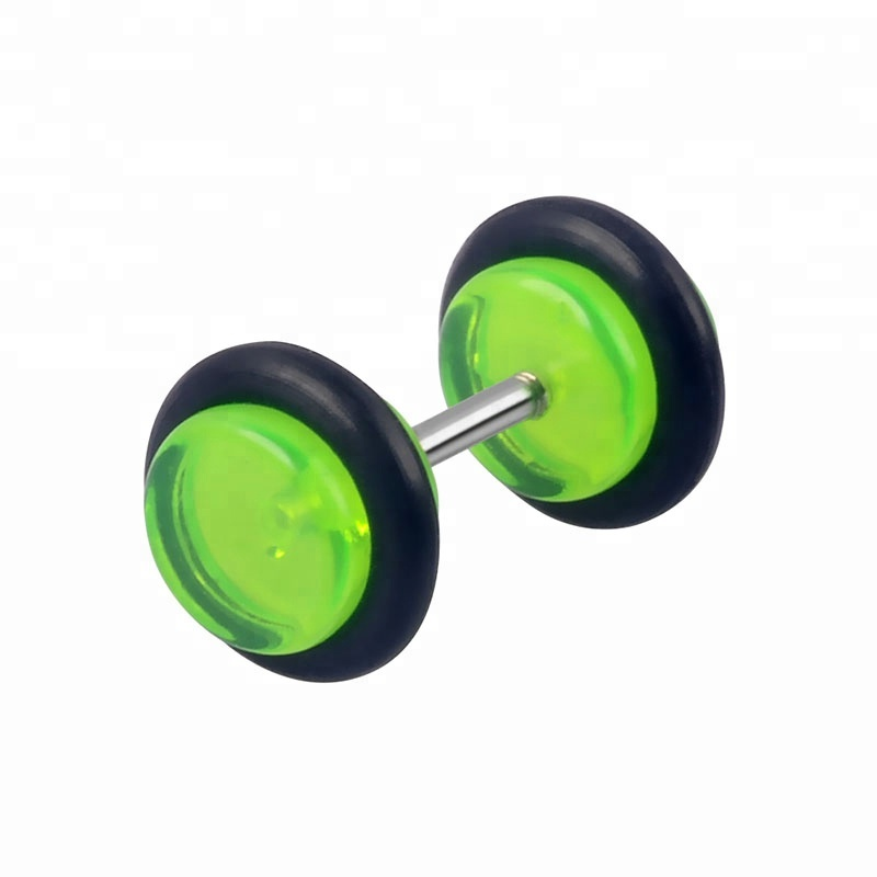 Acrylic barbell stud earring with o-ring cheater ear plugs rainbow