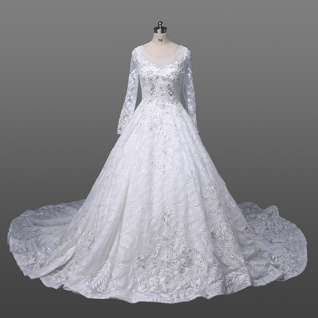Luxury Bead Muslim Wedding Dress Bride Long Sleeve Ivory Lace Bridal Gowns