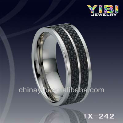 Fashion Genuine Stingray Inlaid Tungsten Ring; Tungsten Ring Jewelry;Imitation Jewelry