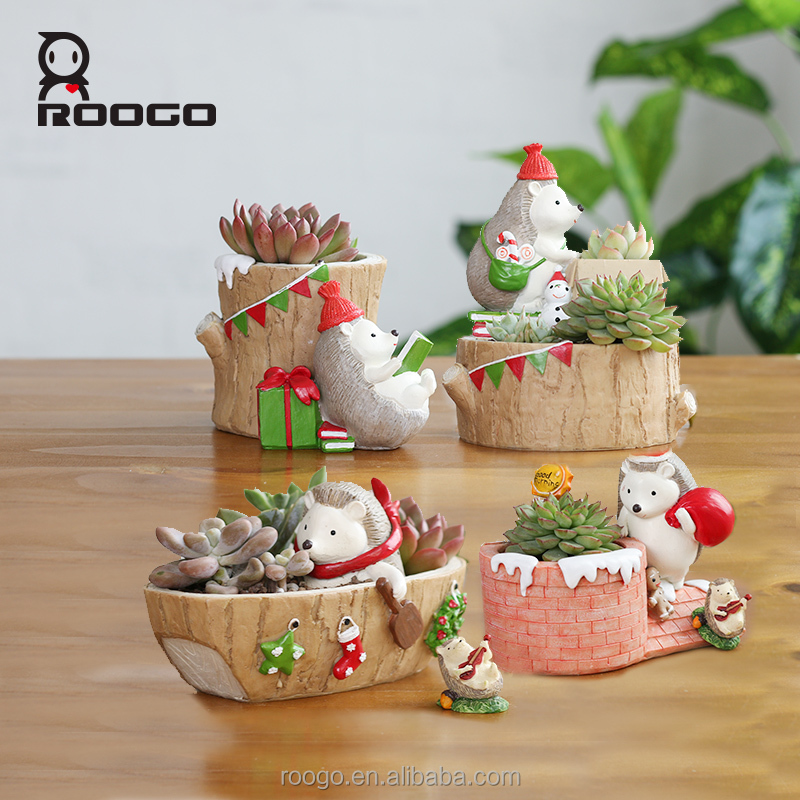 Roogo christmas gift winter hedgehog succulents flower pot
