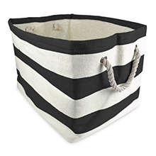 Wholesale Household Red Striped 100% Cotton Clothes Laundry Bag With Sturdy Cotton Handles