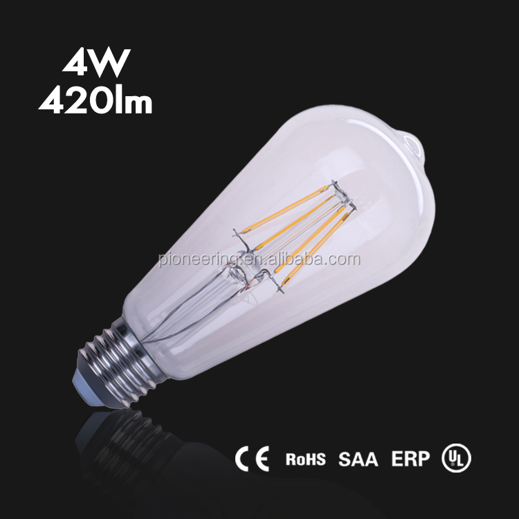 Wholesale LED bulb dimmable 2700K ST64 4W filament bulb E26/E27/B22