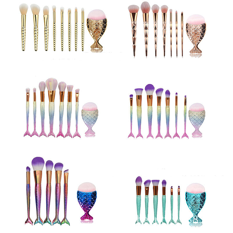 new arrival 8pcs women mermaid makeup brush set fish brush