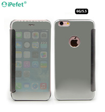 Smart Mobile Flip Cover Transparent View Mirror Leather Case For iPhone 6 Plus