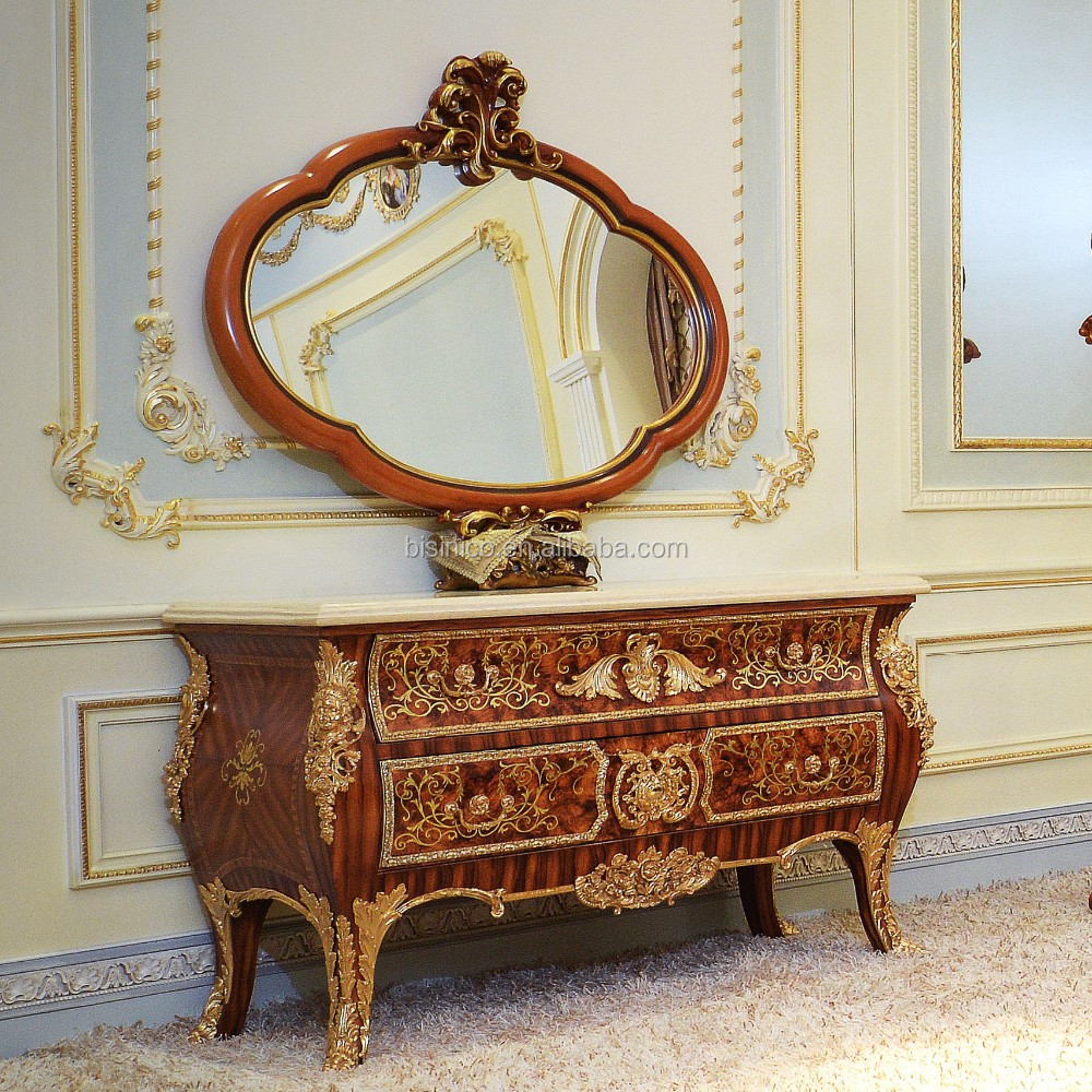 Gorgeous Luxury Design French Marquetry Bedroom Furniture Dresser Table, Neo-Classic Wooden and Brass Dressing Table