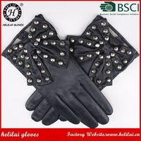 Fashion Women Gloves Ladies Fashion Dress with Studs Leather Gloves