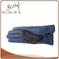Custom Design Blue Kevlar Leather Gloves Motorcycle With Jean