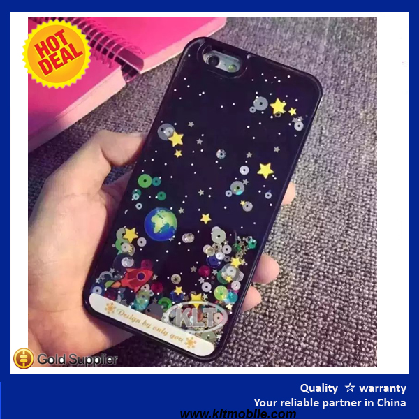 KLT- Newest Plastic Bling 3D Moving Liquid Glitter Star Planet Case For Iphone 6/6S
