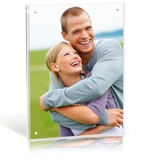 High quality clear acrylic 8x10 magnetic frameless block photo frame