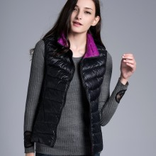 Women 90% duck down Vest Reversible two sided wear Ultra Light Duck Down Vest Jacket winter coat 2 colors in 1 waistcoat LDV4936