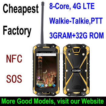 "Highton Cheapest 4.5"" Octa-core IP68 Rugged mobile phone , 4G Industrial phone with NFC and Walkie-Talkie, 3G+32G"