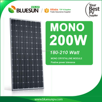 BlueSun high quality 200W pv panel solar /mono silicon 200wp solar module for solar panel system