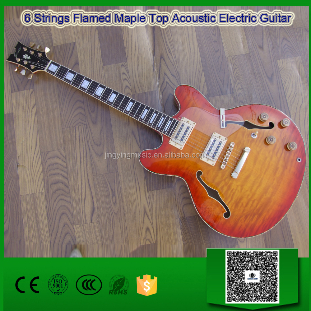 6 Strings Flamed Maple Top Acoustic Electric Guitar