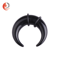 ZhiRen best selling Double O rings BLACK Horn ear piercing expander