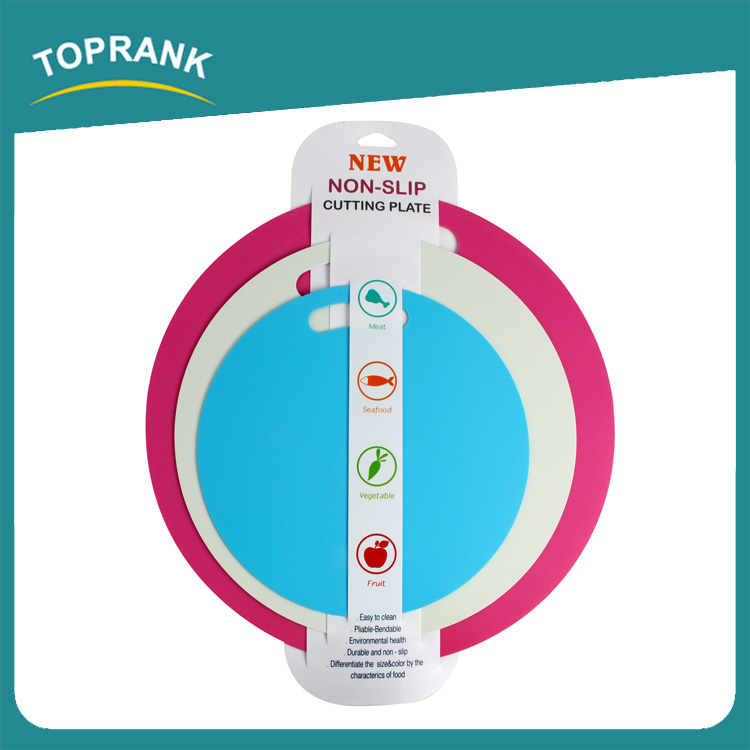 Toprank Full Size Flexible Round PP Plastic Color Coding Chopping Board Super Grip Thin Chopping Board 3 Set
