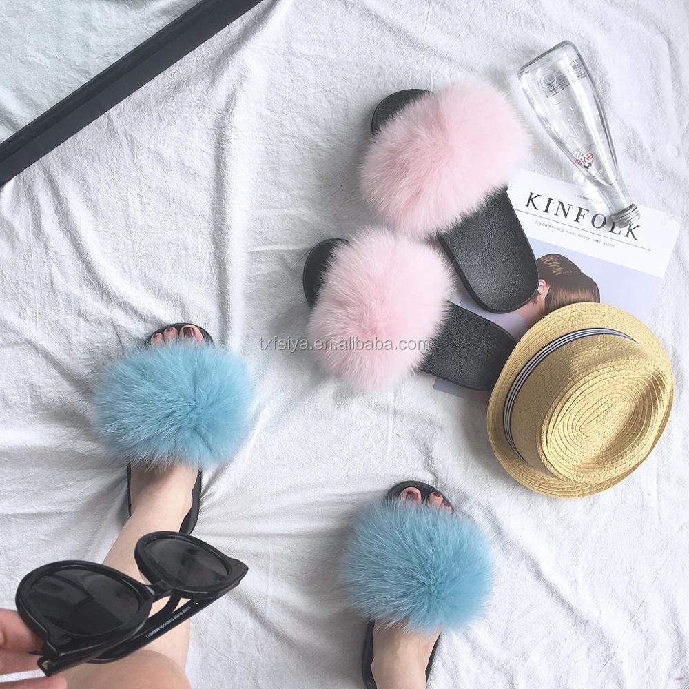 Girls Pink Beach Slipper Real Fur Slippers for SALE/ Women Fox Fur Slides