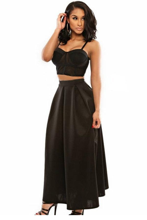 691bab8d11b Get Quotations · 2015 Crop Top and Skirt Set Black Bra Top With Maxi Skirt  LC60154 Summer Style Sports