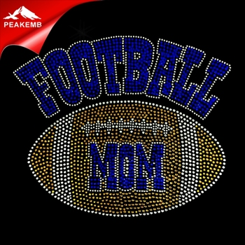 Wholesale korean heat rhinestone hotfix football mom transfer designs